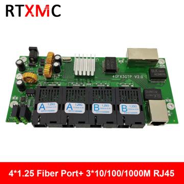 4GF3GE Gigabit Ethernet switch Ethernet Fiber 4*1.25G Fiber Port & 3*101/100/1000M UPT Gigabit Fiber Switch PCBA
