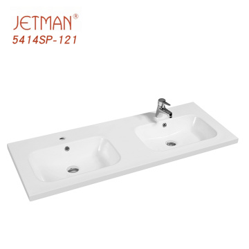 Competitive price rectangular wash basins vanity top double  sink one piece basin