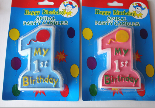 Blue And Pink Birthday Cake Candle