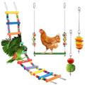 4-piece Pet Bird Toy Medium Large Parrot Toy Foraging Suit Ladder Swing Vegetable Fork Set