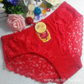 China OEM wholesale new style red sexy comfortable lace cotton fancy panty 5832