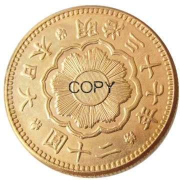 JP(24)Japan 20 Yen Gold-Plated Asian Meiji 37 Year Gold Plated Copy Coin