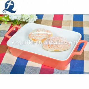 Oven Safe Color Stoneware Plate Dishes Rectangular Ceramic Baking Tray