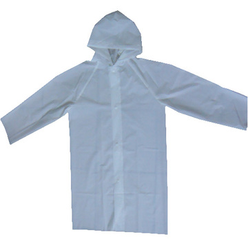 White EVA raincoat with hood