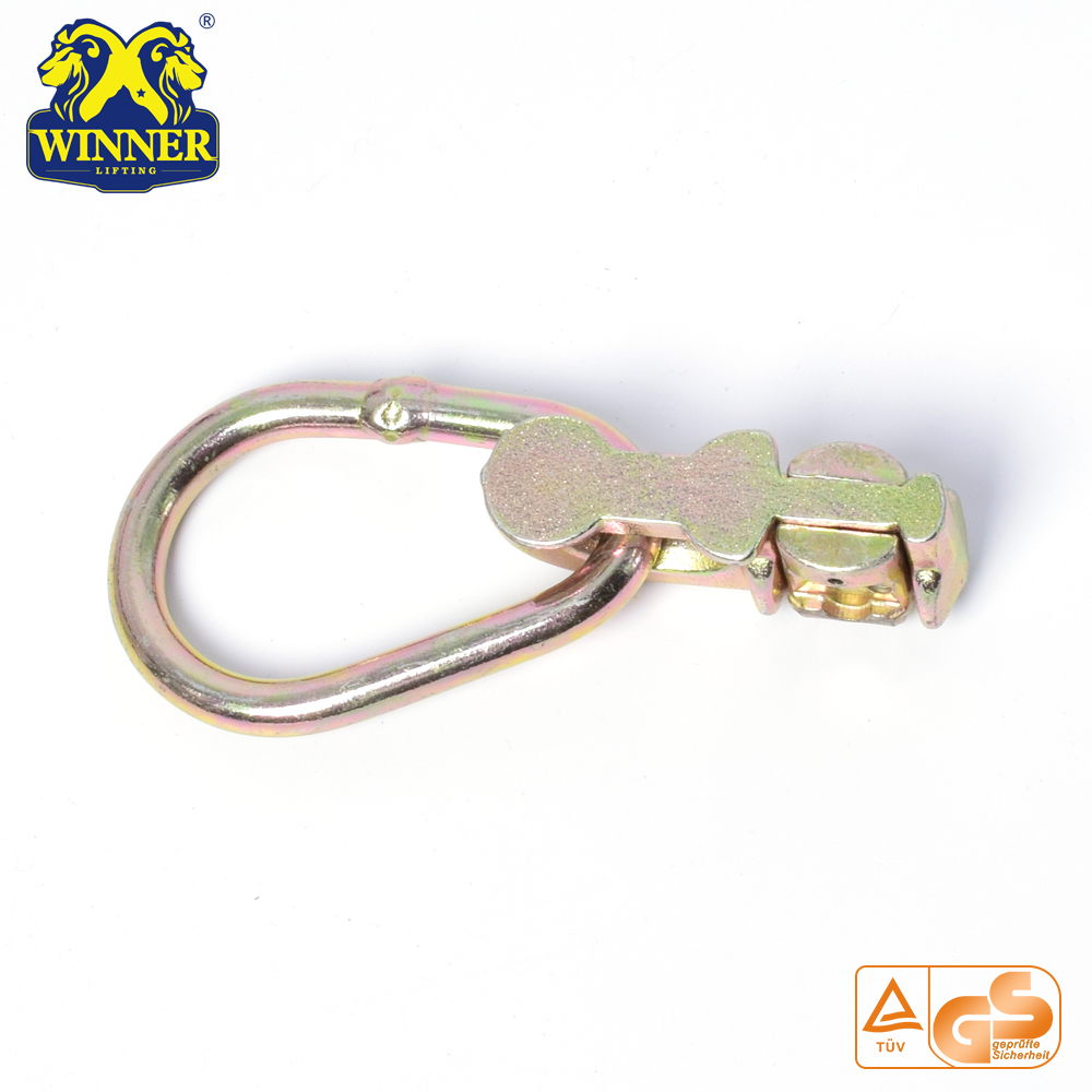 L Track Yellow Zinc Plated Double Stud Fitting With Oval Ring