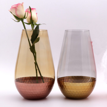 Handblown Electroplate Gold Glass Vase For Home
