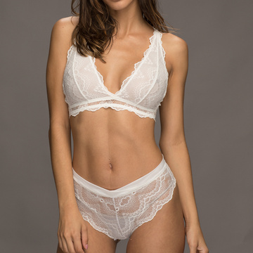 Custom flower lace triangle bralette panty set