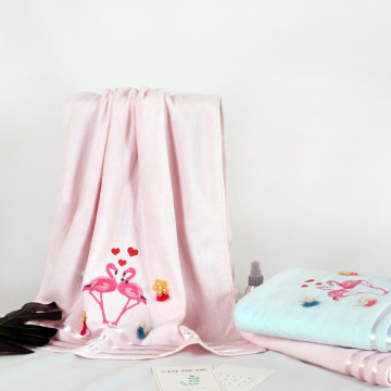 Embroidery  flamingo  cotton towel