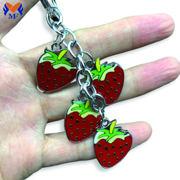 Handbag Metal Custom Enamel Strawberries Fashion Keychain