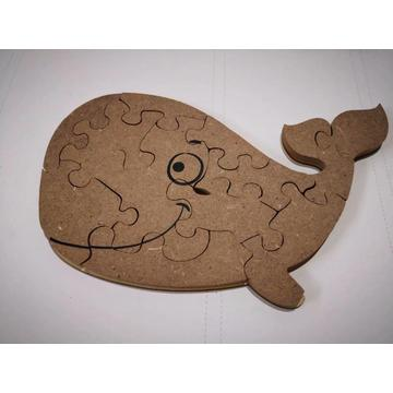 MDF animal shape puzzle-whale
