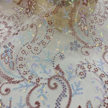 Color Intrigue Formal Dress Sequins Embroidery Fabric