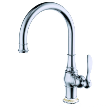 Copper single hole kitchen sink faucet chrome