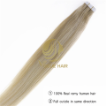 Omber color cheap tape in hair extensions