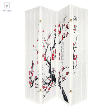 Japanese style 4 Panels Plum Blossom Screen Room Divider black