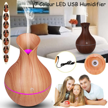 kongyide 130ml Aroma Essential Oil Diffuser Ultrasonic Air Humidifier with Wood Grain 7 Color Changing LED Light for Office Home