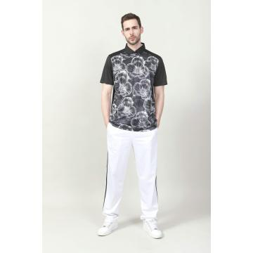 MEN'S BLACK COLOR DIGITAL PRINTED  POLO SHIRT