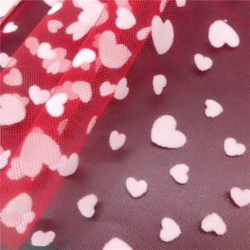 New Design White Heart Flocking Tulle Mesh Fabric