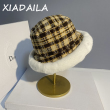 Women's Bucket Hat British style winter versatile Japanese casual Korean thousand bird check fisherman's Hat Plush hat