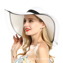 Straw hat summer beach straw with polyester lace