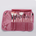 12 pieces pink makeup brush with cloth bag