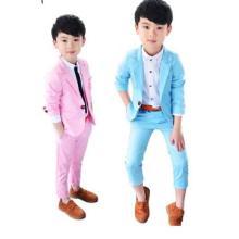Fashion Boys suit pink blue Casual Tuxedos Kids Solid Formal Wedding boys Suit Blazers set Kids baby boys Suit 2pcs (pant+coat)