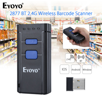 EYOYO MJ-2877 Mini Barcode Scanner 1D 2.4G Bluetooth Wireless Bar Code Scanner For Android IOS Windows