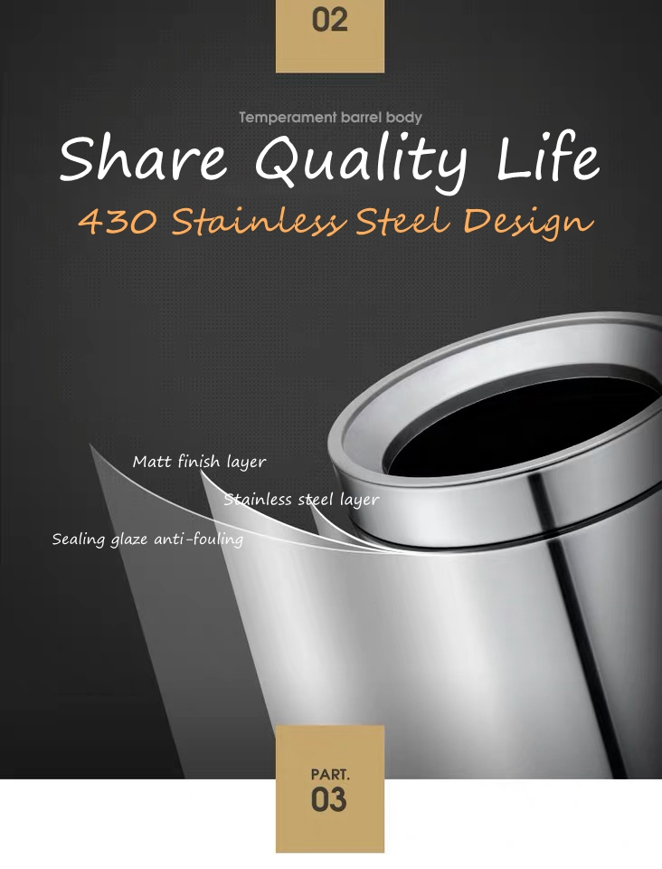 430 Stainless Steel Dustbin