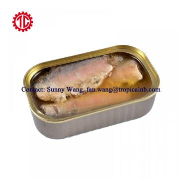 125g Oval Tin Packed Canned Sardine Fish In Vegetable Oil