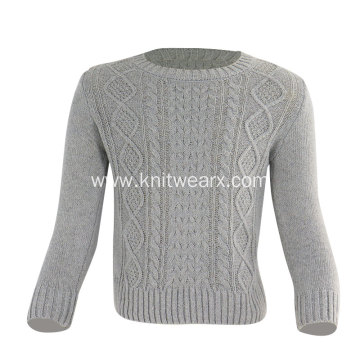 Boy's Knitted Crewneck pullover Cable Sweater