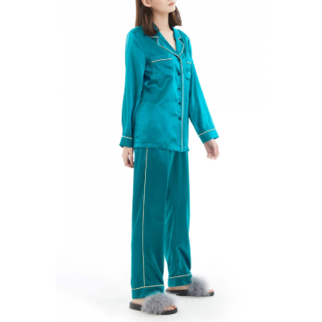 Silk Pajamas Long Sleeve Button Down Pj Set