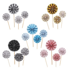 20 Pcs Cake Toppers Paper Fan Shaped Cupcake Toppers Dessert Toppers Food Fruit Picks for Baby Shower Wedding Birthday Party