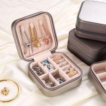 Square Jewelry Box Simple Jewelry Box Earrings Ring Pendant Display Box Portable Travel Ear Hook Holder Zipper Storage Oragnizer