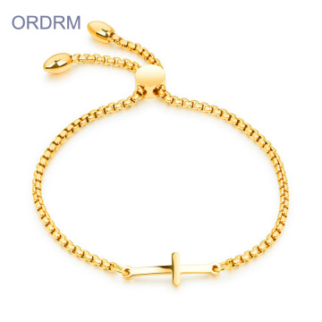 Stainless Steel Gold Cross Pull Chain Bracelet