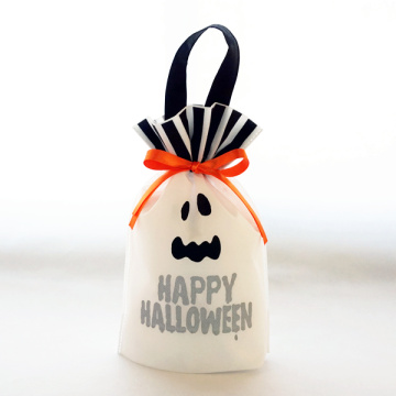 Halloween White Non-Woven Handle Gift Drawstring Bag
