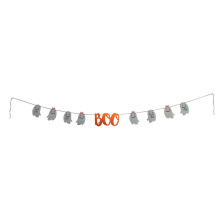 "Halloween bunting flags with ""Boo"" letter pattern"