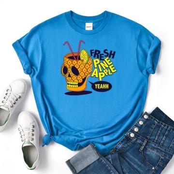 Fresh Pine Apple Print Womens Tshirts Summer Loose Tops Creativity Cotton Tee Clothes Casual Sweat Women T Shirt New Fashion
