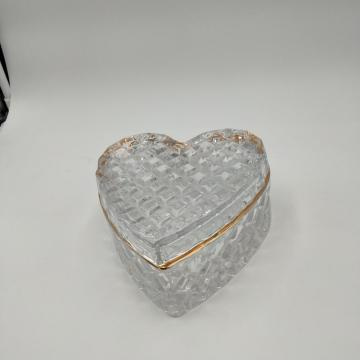 large size geo cut heart shaped glass jar