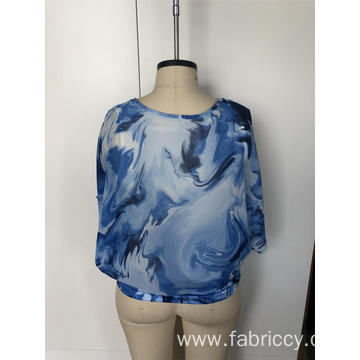 Tie-dyed chiffon top with round collar