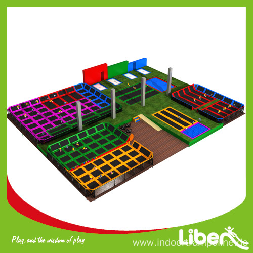 Large trampolines with nets enclosures