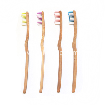 Ecological Primary Color Curved Handle Bamboo Toothbrush