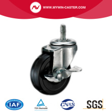 Braked Threaded Swivel Black Rubber Industrial Caster whees