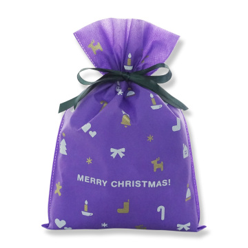 Purple Christmas Gift Wrapping Bag Drawstring Pouch