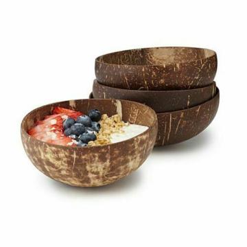 Creative Natural Coconut Bowl Eco Friendly Soup Salad Noodle Rice Bowl Wooden Fruit plates Handicraft Art Vintage Type Decor
