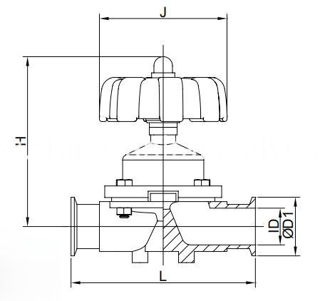 Hygienic clamp diaphragm valves manual operatio