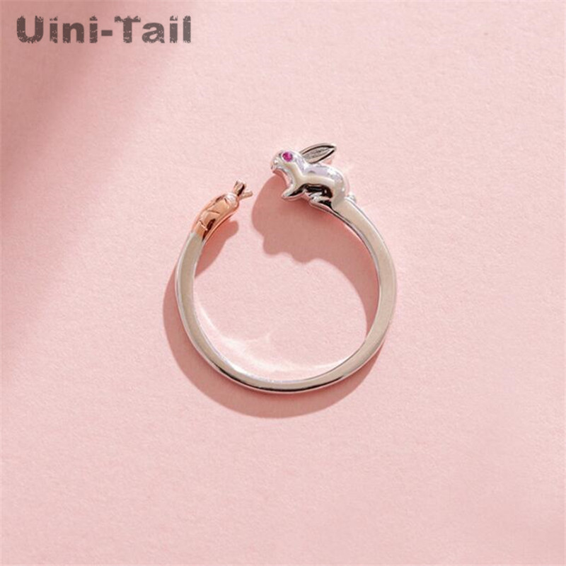 Uini-Tail 2019 new listing 925 sterling silver simple cute bunny carrot ring fashion creative small fresh sweet open ring ED495