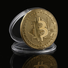1pc Physical Metal Antique Imitation BTC Coin Gold Plated Physical Bitcoins Casascius Bit Coin BTC With Case Gift Art Collection