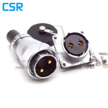 WEIPU WS28 series Waterproof Connector 2pin Plug and Socket, 50A Metal round elbow waterproof connector IP67
