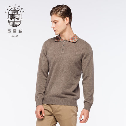 Men's polo neck pure cashmere sweater
