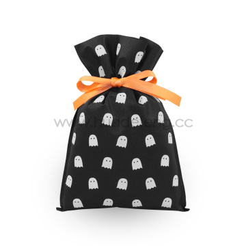 Halloween White Ghost Black Non-woven Drawstring Gift Bags