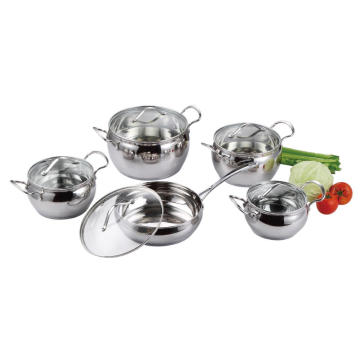 Stainless Steel 10pcs Cookware Set in Apple Shape